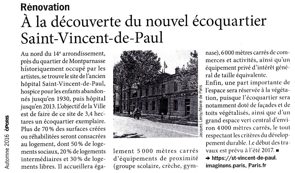 Nouvel écoquartier St Vincent de Paul